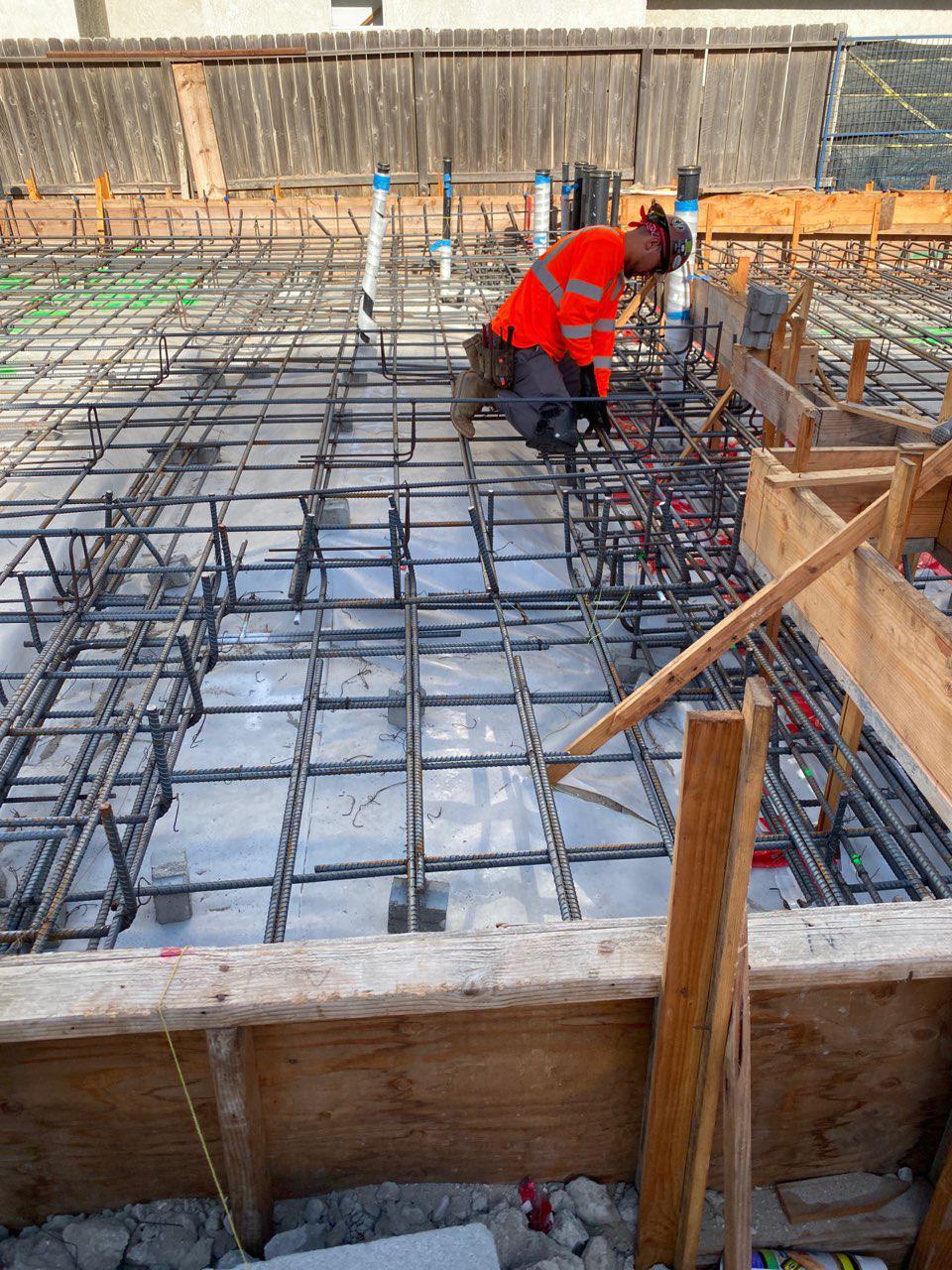 Concrete Forming, Rebar Installation, Moment Frame Bolts Installation, Pouring Concrete