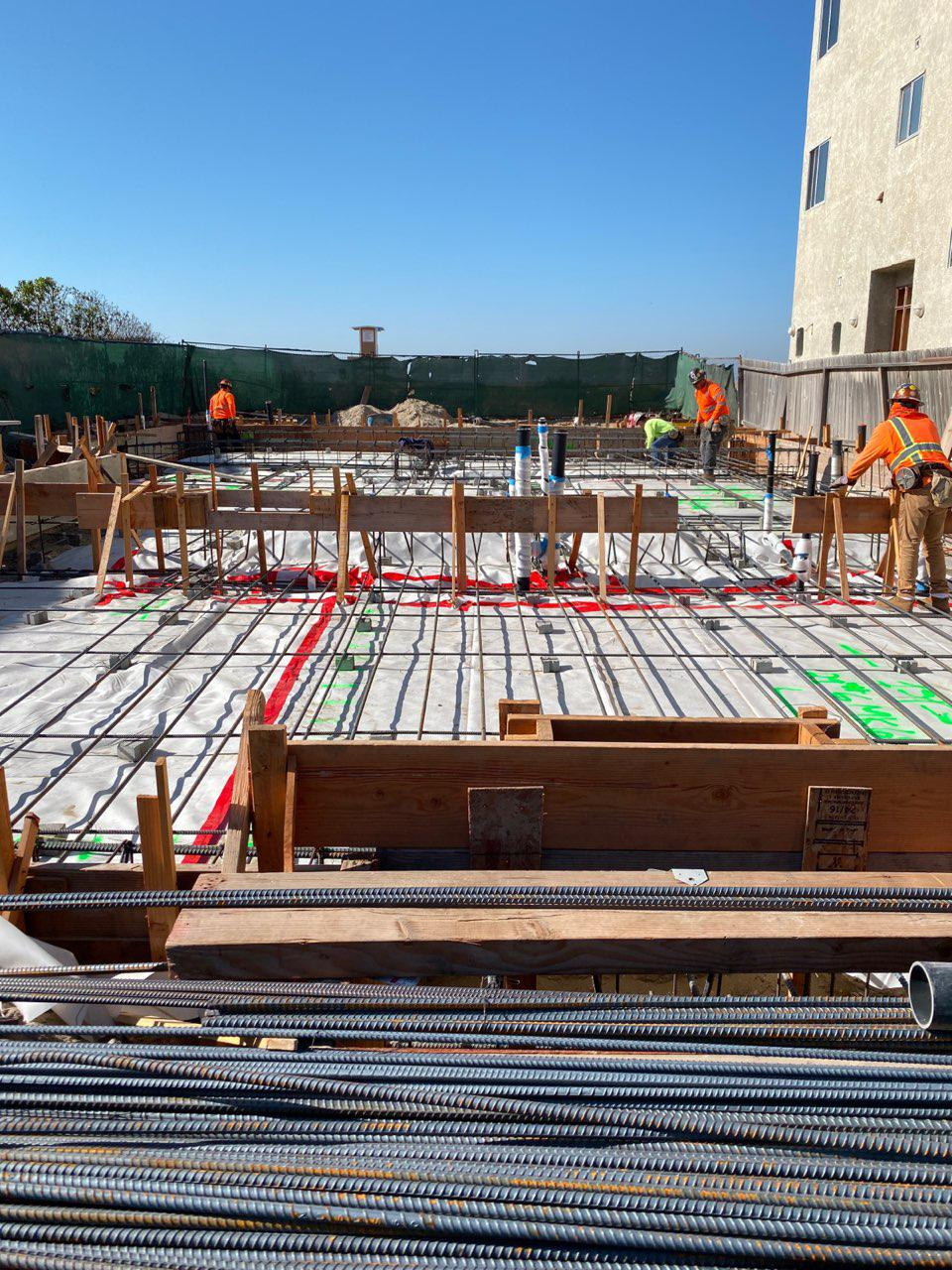 Concrete Forming, Rebar Installation, Moment Frame Bolts Installation, Pouring Concrete